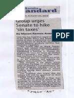 Manila Standard, Aug. 20, 2019, Group urges Senate to hike sin taxes.pdf