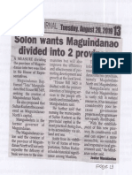 Peoples Journal, Aug. 20, 2019, Solon wants Maguindanao divided into 2 provinces.pdf