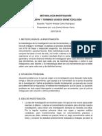 Taller Conceptos DE METODOLOGIA DE LA INVESTIGACION