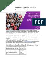 CA Intermediate Result of May 2019 Exam – Latest Updates