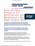 New Testing Program for Waterproof Acrylic Membranes Shows High Failure Rate