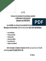 Les Six Retenus Mecanique Et Environnement 25-03-2019