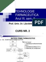 Tehnologie Farmaceutica Anul III - Curs 2