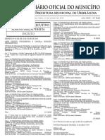Diario Oficial do municipio de uberlandia, numero 5669. Publicado em 23 de julho de 2019.