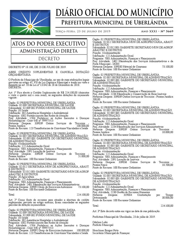 Diario Oficial do municipio de uberlandia, numero 5669. Publicado em 23 de  julho de 2019. | Educação especial