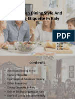 American Dining Style and Dining Etiquette in Italy