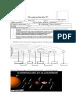 evaluacion  sistema solar  de ciencia naturales  2019  2° semestre.