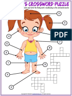 Body Parts Vocabulary Esl Crossword Puzzle Worksheet for Kids