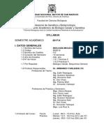 syllabus Biologia Molecular UNMSM