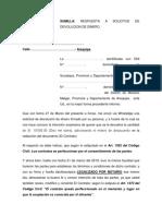 Respuesta a Carta Sobre Devolucion de Dinero