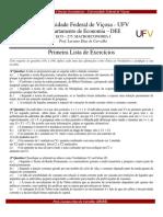 Lista de Exercícios - Macroeconomia I