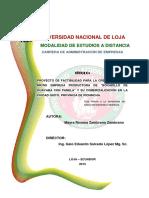 Proyecto de Factibilidad Para La Creacion de Una Microempresa Productora de Bocadillo Guayaba Con Panela y Su Comerc