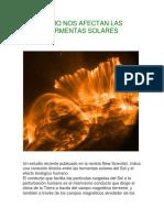 Como Nos Afectan Las Tormentas Solares