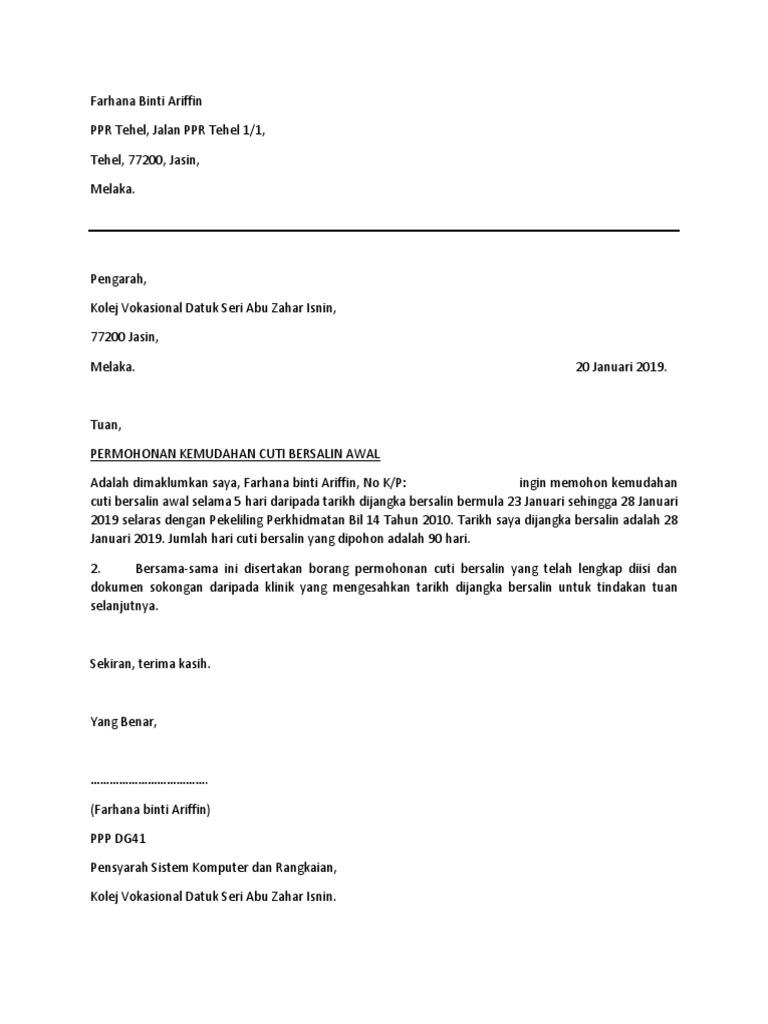 Surat Permohonan Cuti Bersalin Awal 14 Hari Docx