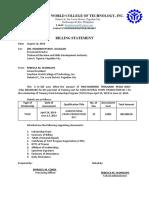 Billing Statement for Assessment Center