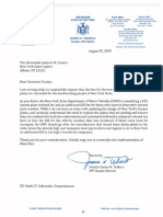 Renewal Fees Letter to Gov. Cuomo