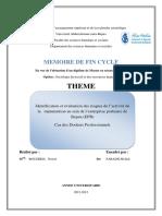 Identification Et Évaluation Des Risques de l'Activité de La Manutention Au Sein de l'Entreprise Portuaire de Bejaia (EPB)