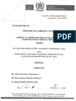Decision on Application of Frontier Oil Company 1 Foc 1 for Grant of Construction of New Oil Pipelines Dated June 08 2018