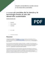 Problemas Sociales de La Ciencia y La Tecnología Frente Al Reto Del Desarrollo Sustentable