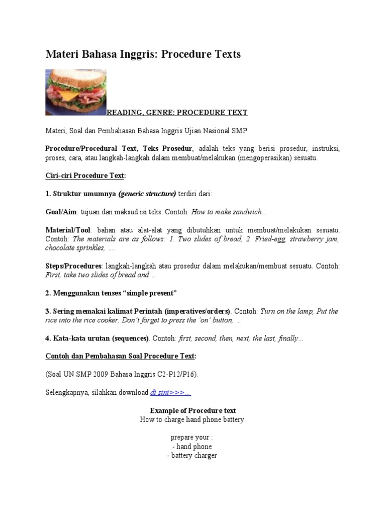 Contoh Teks Procedure Dalam Bahasa Inggris - Terkait Teks