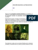 Corrientes Filosóficas Más Importantes y Sus Representantes