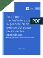 Pacto Por El Crecimiento y Para La Generación de Empleo Del Sector - Alimentos Procesados