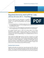 IPART - Fact Sheet_Regulated Electricity Retail Tariffs for 1 July 2010 to 30 June 2013_final Report