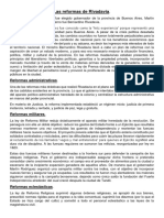 Resumen reformas Rivadavianas