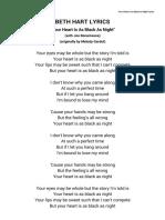 Beth Hart Lyrics - Your Heart is as Black as Night