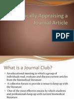 Critically Appraising a Journal Article