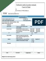 certificado CLORANFENICOL