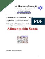 Parasha No.26 Shemini Alimentacion Santa