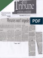 Daily Tribune, Aug. 22, 2019, Plenaries wont impede budget.pdf