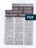 Peoples Journal, Aug. 22, 2019, House to hold marathon 2020 budget hearings.pdf