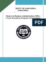 MBA executive 2 year Syllabus