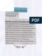 Philippine Daily Inquirer, Aug. 22, 2019, Stop military operations in Maguindanao, Du30 asked.pdf