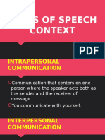 Types of Speech Context