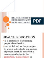 Relationship Between Health Education and Health Literacy