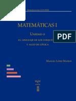 CCH Matemáticas I, unidad 0. El lenguaje de los conjuntos y algo de lógica