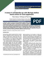 A Study of Lactobacillus Sp With Moringa Oleifera