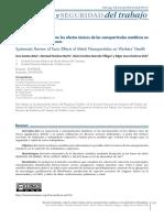 Revisión Sistemática sobre los efectos tóxicos de las nanopartículas metálicas en la salud de los trabajadores