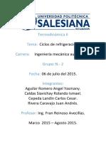 Investigación N. 3. Ciclos de Refrigeración. Grupo N. 2 Ingeniería Mecánica Automotriz.