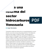 Hacia una reforma del sector hidrocarburos en Venezuela