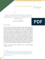 Teoría y Resistencia en Educación, Hacia Una