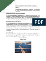 Ubicación Plantas de Energia Hidraulica en Guatemala