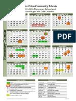 2019-20 elementary calendar draft early spring break