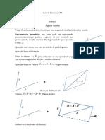 Lista de Exercícios # 1-Algebra Vetorial