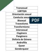 Diversidad Sexual y de Genero.