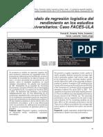 Un Modelo de Regresión Logística Del Rendimiento en Los Estudios Universitarios