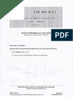 Malaysian University English Test (MUET Paper 4) End-Year 2010
